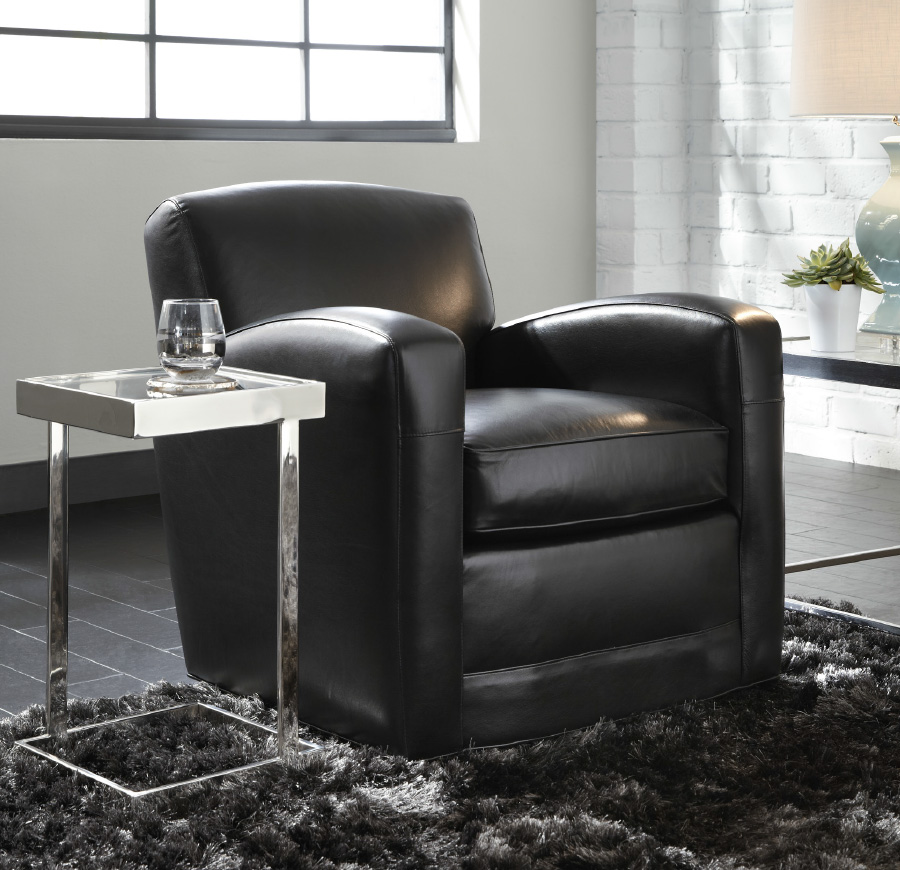 Mitchell Gold + Bob Williams: (In Order) Ellis Swivel Chair, Kalinda Chair,  St. Thomas; Leather: ...